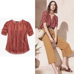 NEW J. Crew Sparkle Floral Ruched Sleeve Blouse
